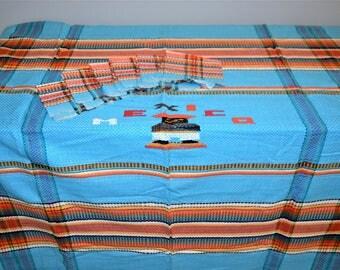 Vintage Mexico Tablecloth & Napkin Set Woven Aqua