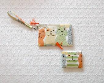 Retro Boho Colorful Cats Wristlet Handbag Coin Purse Set 2pc