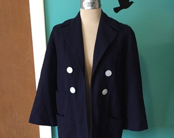 Boardwalk Babe - 1960's does 1930's Navy Wool Nautical Coat