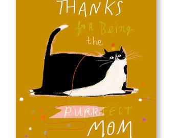 Funny Mother's Day Card - Mother's Day Cat Card - Purrfect Mom - Cat Mom Card