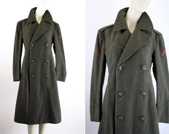 Wool Green Military Unisex Long Peacoat Trench Coat Jacket Outerwear