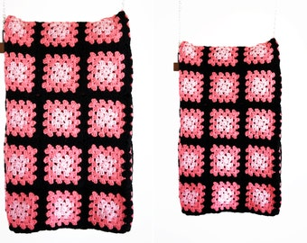 Black and Pink Vintage Crochet Granny Afghan Throw Retro Blanket