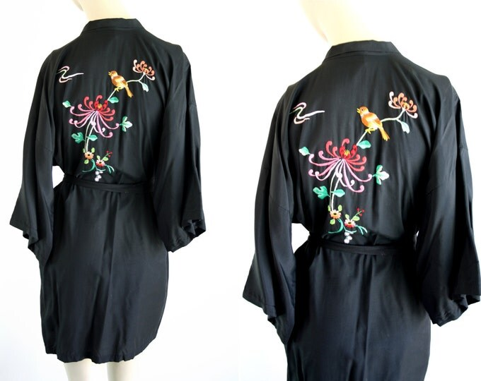 Featured listing image: Vintage Embroidered Short Style Vintage Silver Lake Kimono Style Woman's Retro Robe
