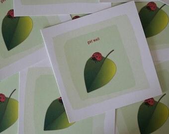 Get well Card, Ladybug, Leaf, Feeling Better, Sale