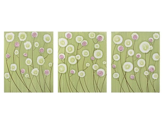 Baby Girl Nursery Decor - Textured Flower Painting - Pink and Green Wall Art Triptych Canvas - Large 50x20