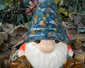 Gnome - Yard and Garden Gnome  Turquoise Orange Jacket Glazed hand painted outdoor Safe Statue  Gnosey