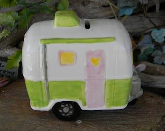Camper  Fairy  House Ceramic Airstream  Silver Rv   Bank   fantasy fairy room decor glamping trailer