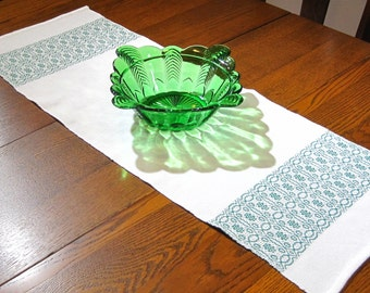"36"" Handwoven Table Runner Woven Hand Woven Coffee Table Runner Green and White Table Runner Whig Rose Table Runner 36 Inch Table Runner"