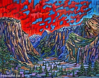Yosemite Valley, Yosemite National Park, Sierra Nevada, California, El Capitan, Half Dome, 8x10 Art Print, by Anastasia mak