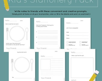 Kid's Stationery Pack Printable | Chidren's Stationery Template | PDF Download