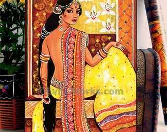 Indian woman painting, feminine beauty, Goddess art, home decor wall decor woman art, ACEO wood block, CG