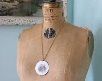 Vintage Necklace - Romantic Scene, Valentine's Day, Enamel
