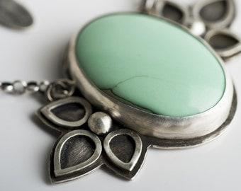 Larkspur Statement Necklace in Silver w/ Green Variscite Gem