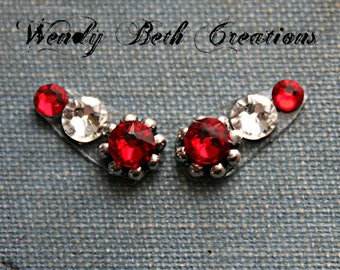 Red and White Accent Bindi Pair - ATS, Tribal Fusion, Belly Dance, Facial Jewelry, Third Eye