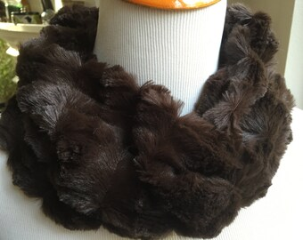Brown Minky COWL, Circular Cowl, Women's Neckwarmer, Minky Neckpiece, Women's Winter Cowl