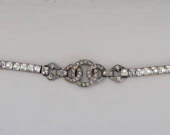 Vintage Art Deco Sterling Silver Crystal Bracelet