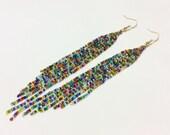 Bright Multicolor Waterfall Beaded Earrings - Shoulder Duster, Long
