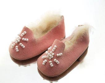 Tiny Vintage Doll Moccasins Handmade Beaded Doll Shoes Pink Moccasins Leather
