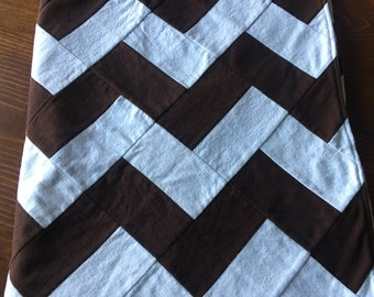 Brown and Blue Chevron Baby Blanket