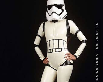 Sexy Storm Trooper Latex Cosplay Catsuit, made to measure