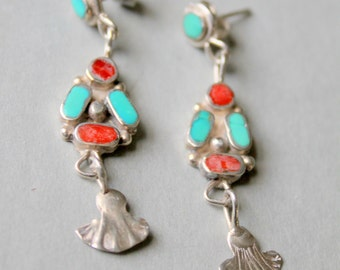 Native American Zuni Earrings Sterling Silver Turquoise Coral Vintage Dangle