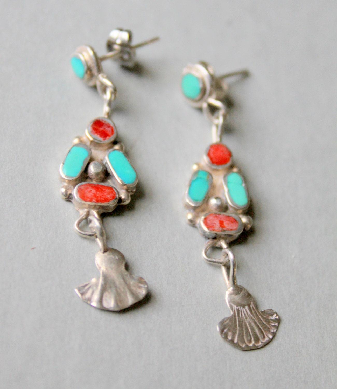 Zuni Earrings: Native American Zuni Earrings Sterling Silver Turquoise Coral