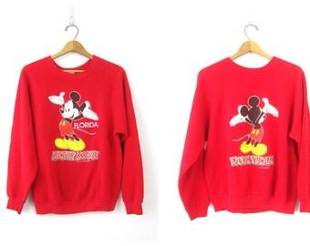 Atrás sudadera Mickey Mouse roja Florida Disney Jersey raglán novedad suéter frente del Hipster Retro Top para mujer tamaño grande