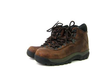 Vintage brown leather mountain hiking boots Distressed Merrell Boots Rugged Shoes Camping Boots Women's Shoes Size 7.5