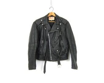 Vintage black leather Coat Moto Biker Jacket Silver Hardware 1970s Motorcycle Coat Excelled Jacket Men's Size 40 Regular