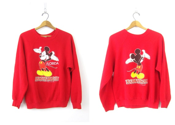 Mickey Mouse Sweatshirt RED Florida Disney Raglan Pullover Novelty Sweater Front Back Retro Hipster Top Womens Size Large