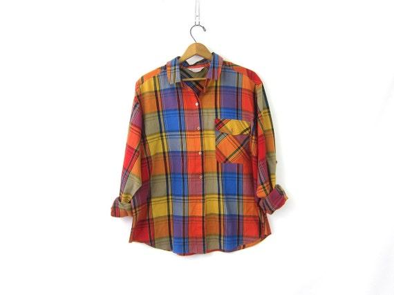 80s Colorful Plaid Shirt Button Up Top Madras Print Long Tab Sleeve Tee Vintage Preppy Tshirt Purple Orange Shirt Womens XXL 2XL