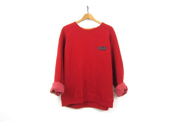 Red Lucky Brand sweatshirt Oversized Baggy sweatshirt Long vintage Preppy crewneck pullover Sporty Athleticwear Women's size Large