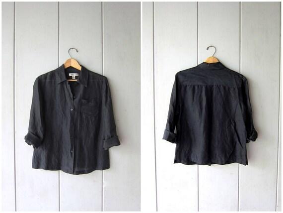 Minimal Black Blouse SILK & LINEN Button Up Shirt 90s Sheer Black Blouse Vintage Long Sleeve Top Simple Modern Shirt Womens Medium