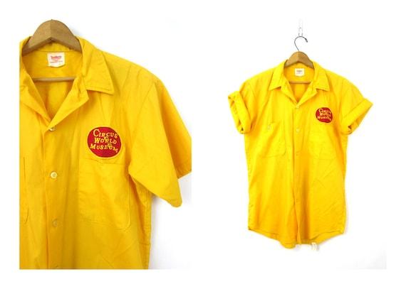 Yellow Circus World Museum shirt Topp Master Work Shirt Button Up Pocket Top Collar Shirt Baraboo Wisconsin vintage Dells Medium