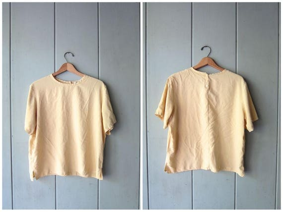 90s Pale Yellow Silk Top Modern Vintage Boxy Crop Top Short Sleeve Silk Top Casual Minimal Silk Tee Cropped Blouse Womens Large XL
