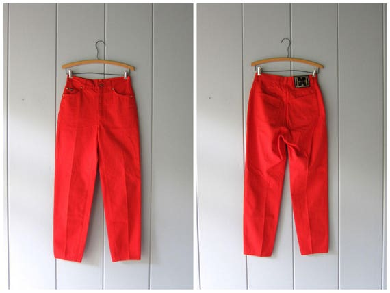 80s ESCADA Jeans High Waist Soft Denim Jeans Vintage ITALIAN Jeans Tapered Leg High Rise Red Pants Womens EUR 36 waist 28""