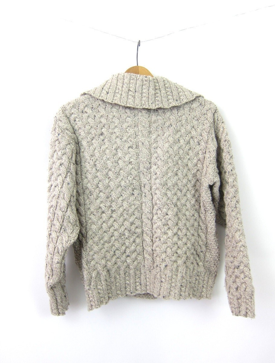 Irish fisherman sweater aran crafts oatmeal cardigan wool for Aran crafts fisherman sweater