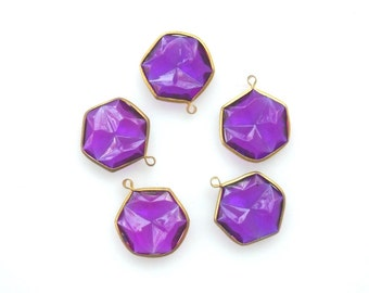 Purple Vintage Acrylic Rivoli Channel Set 1 Loop pendant charm, 5