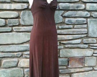 Brown goth steampunk 70s maxi dress with lace Peter Pan collar lolita mori Victorian edwardian mod hippy faux velvet