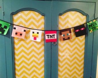 Minecraft Bunting; Personalized Minecraft Banner; Felt Minecraft banner