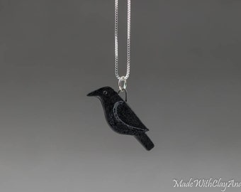 Little Porcelain Raven Bird Sterling Silver Necklace - Miniature Tiny Ceramic Black Crow Animal Nature Handmade Jewelry