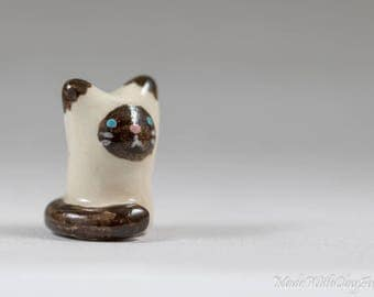 Little Seal Point Kitty - Terrarium Figurine - Miniature Tiny Ceramic Porcelain Siamese Himalayan Cat Animal Sculpture - Hand Sculpted