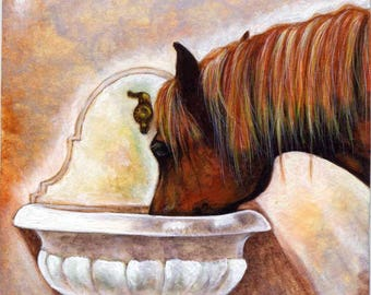ACEO Limited Edition Hand Embellished PRINT Horse Animal Fountain Equine ART