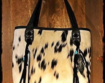 Spotty cowhide tote