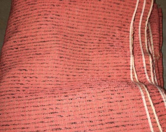 5 1/8 yards 49 wide VTG 40s 50s salmon pink and black tweed dressmaking / curtain Fabric