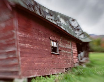 Adirondack Photography, Rustic Wall Decor, Photo of a Barn, Farm Photograph, Surreal Print, Landscape, Country Life, Red, Green, Grey