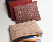 Cork Leather Coin Purse, Card Zip Wallet