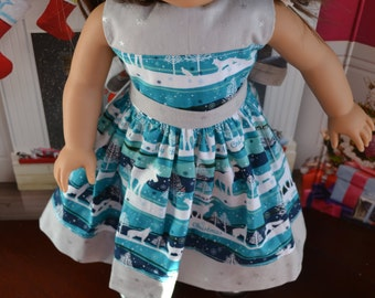 18 inch Doll Clothes - Christmas Dress - Moosey Christmas Stripes - TEAL AQUA GRAY - fits American Girl