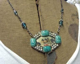 Vintage Brooch Necklace  - Framed Birdy Necklace