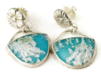 Plume Agate over Turquoise Earrings - Sterling Post Earrings - Blue Sky and Clouds - Statement Earrings
